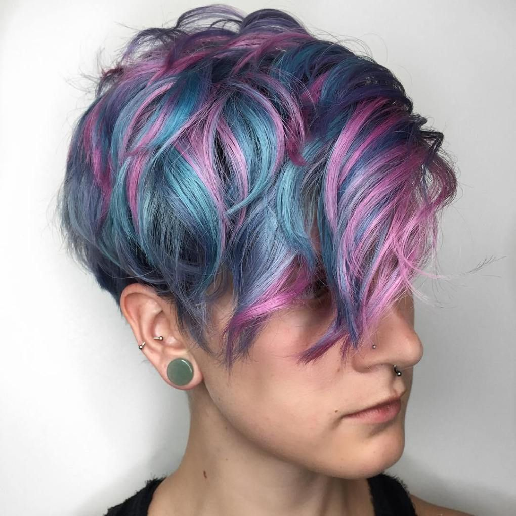 Pastel Blue Pixie With Pink Highlights Dyed Hair Short Hair Styles Short Choppy Haircuts