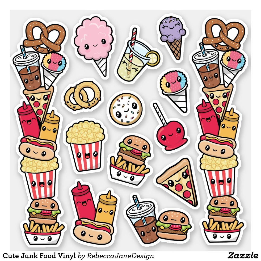 Cute Junk Food Vinyl Sticker Zazzle Com Cute Food Drawings