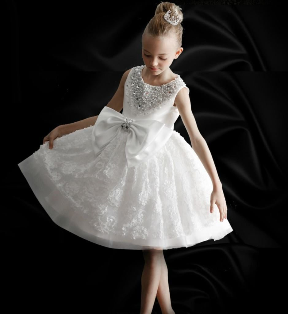 7586d58017b Pearl Applique Bow Dress-Made To Order - High Quality Elegant Pearl  amp   Beaded