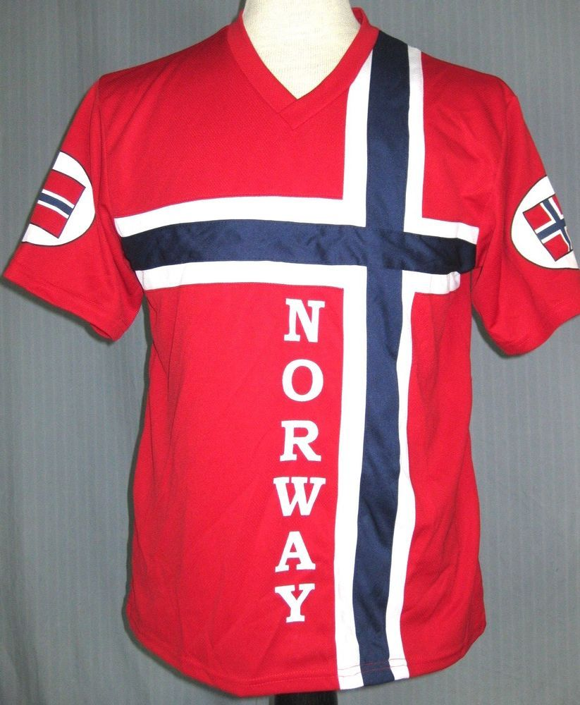 super popular 416a4 9b708 Norway National Team Adult Medium Red Blue Soccer Jersey M ...