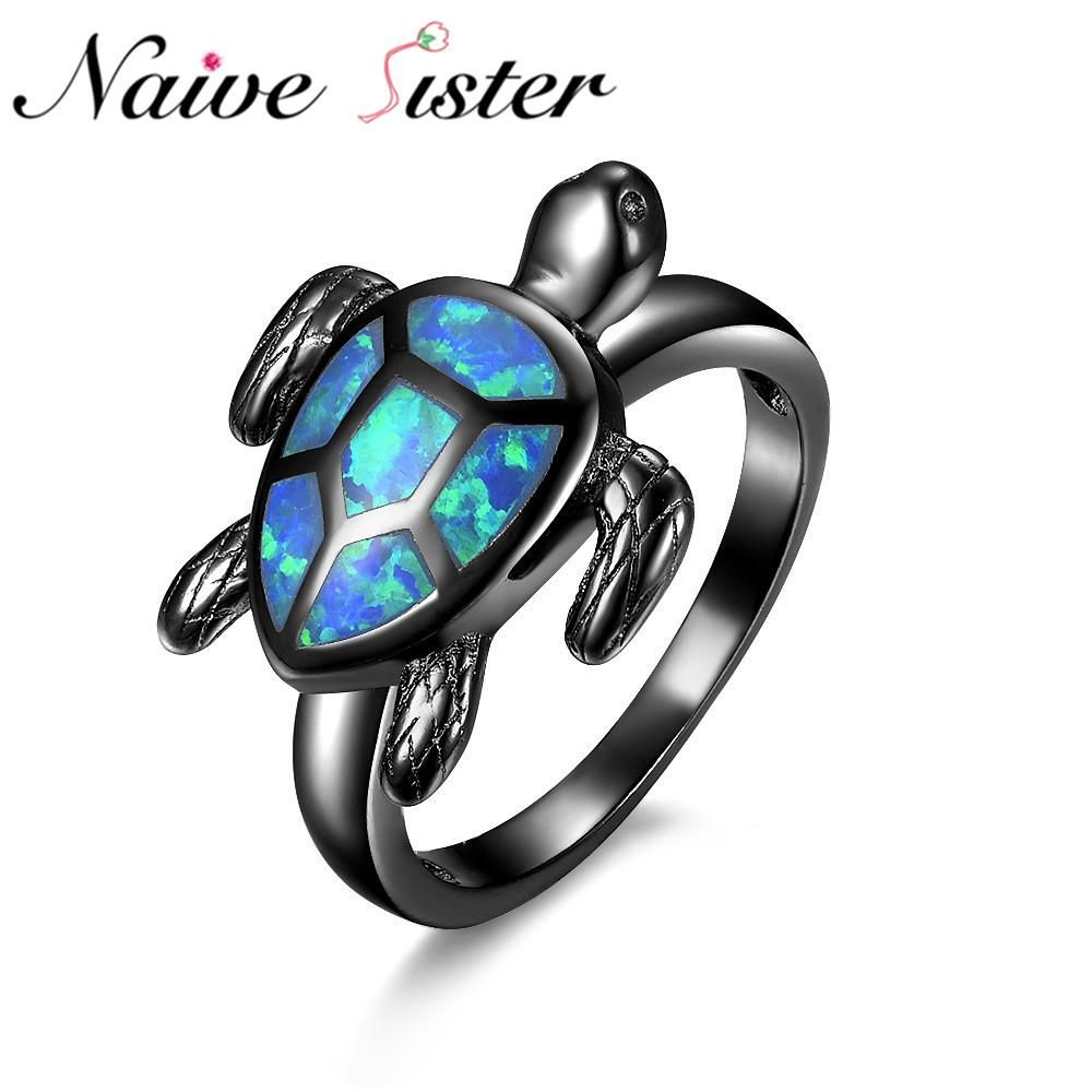 Top Quality Turtle Blue Fire Opal Animal Ring rings