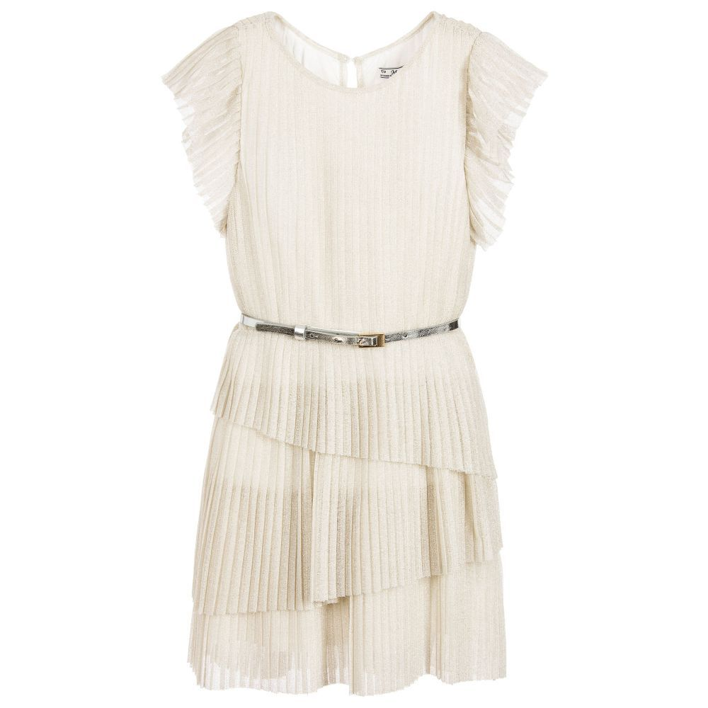 Girls light beige pleated dress by mayoral made in sparkly lurex