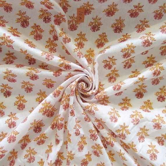 Hand Block Print Dress Material Cotton Fabric 5 Yard Floral Print