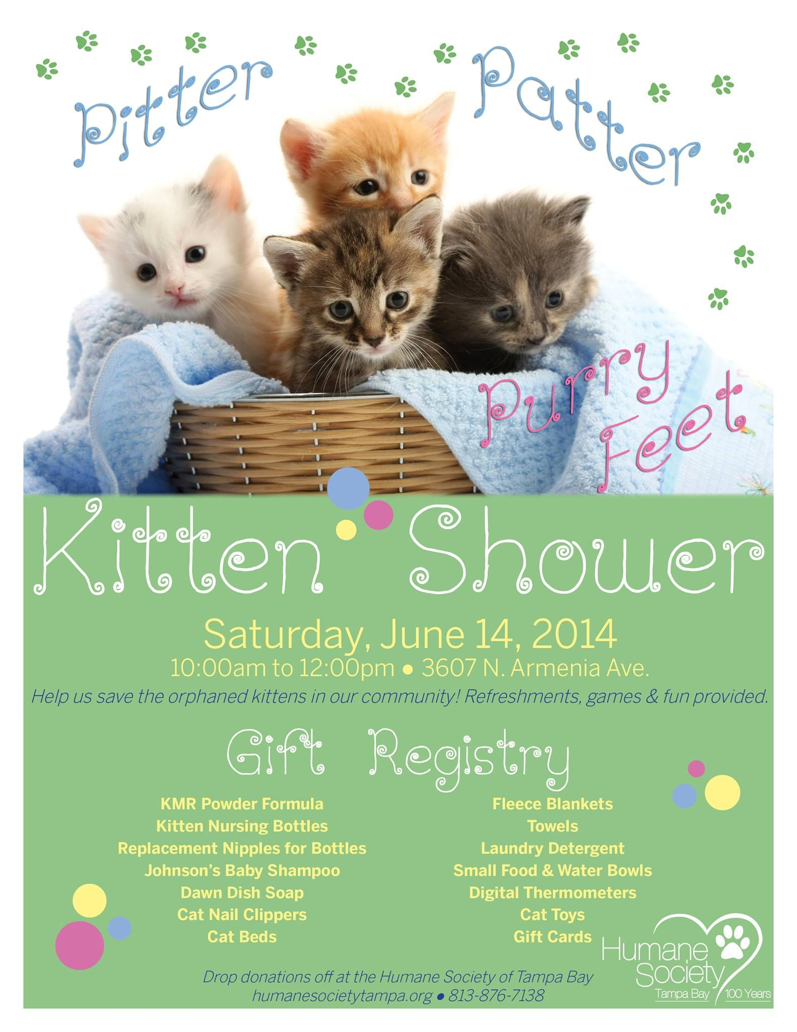 Upcoming Events Kitten Showerupcoming Events The Humane Society Of Tampa Bay Kitten Shelter Kittens Animal Rescue Ideas