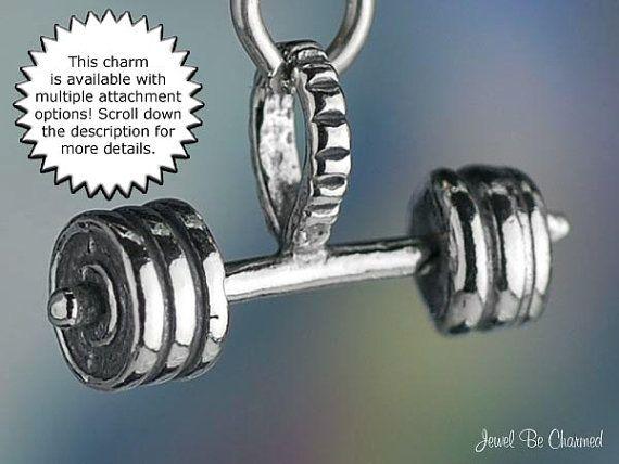 Barbell ou Haltères Charm Pour Séance D/'entraînement ou de levage Jewelry Designs Argent Sterling