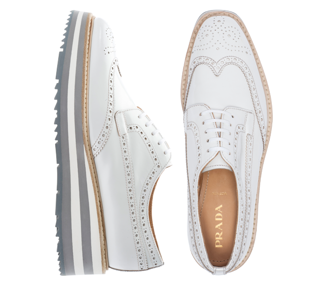 fd4d5110 White Prada Lace Up Wing Tip Platform Brogues | Haute ...