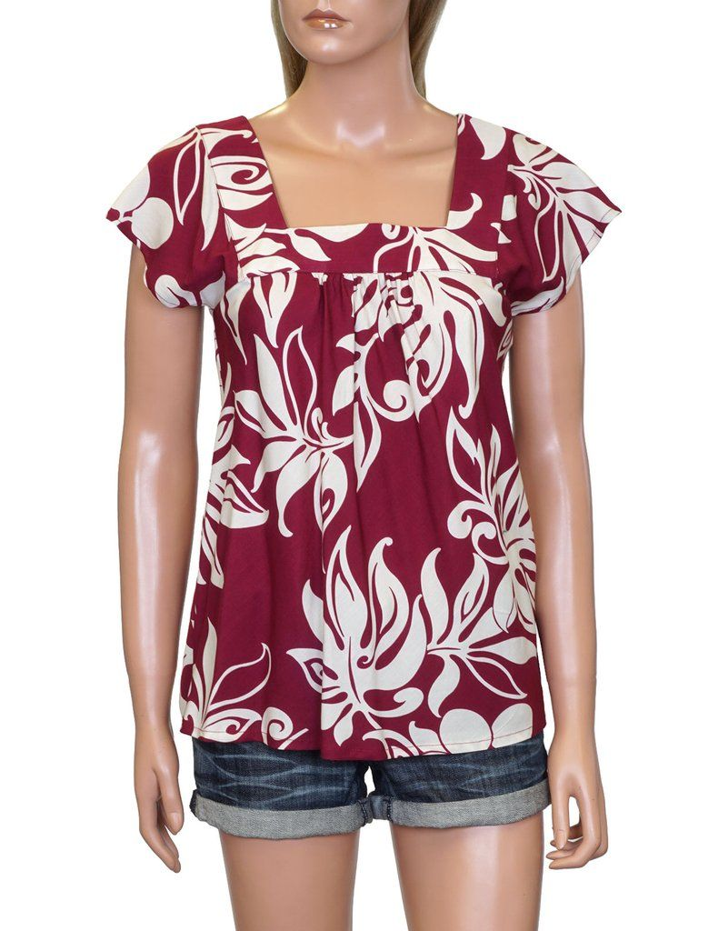 Ladies Square Neck Hawaiian Camp Shirt HHN446 Tops