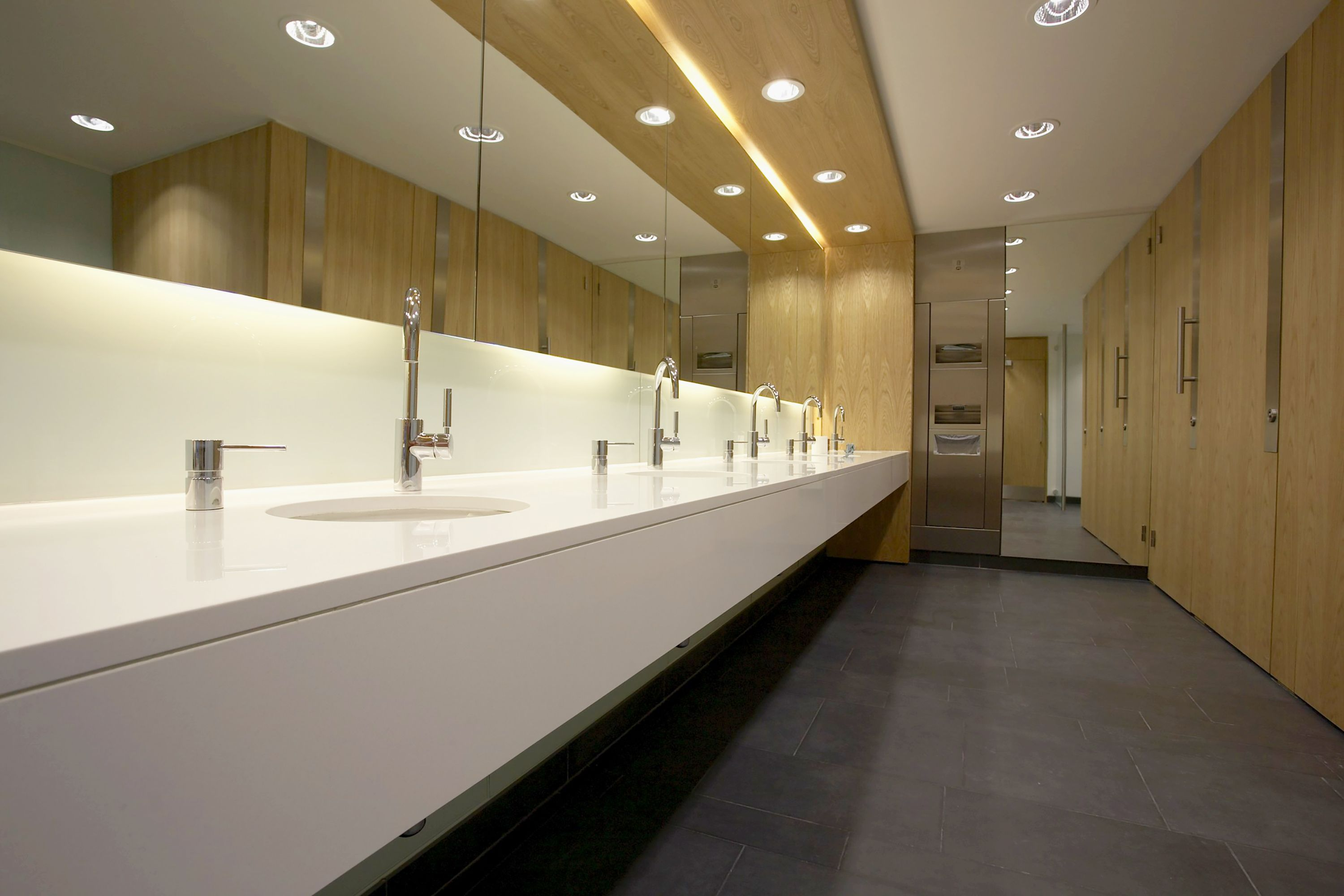 Washroom projects cambridge head office interfix for Office bathroom designs