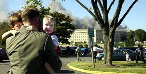 I have only heard the story behind this picture once, but it literally brought tears to my eyes. On September 11, 2001, a hijacked plane knifed into the side of the Pentagon. We all know that. What very few people have heard is shortly afterwards, the director of a nursery in the building stood looking at the children in her charge, wondering how to move all of the babies and toddlers to safety.    A marine rushed into the room and asked if she was alright. She needed help and she told him…