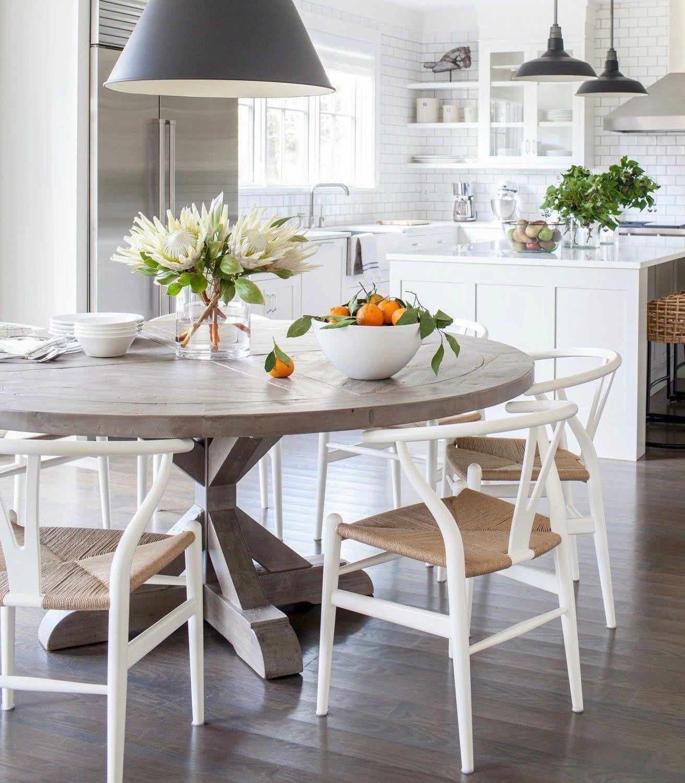 Mesa comedor redonda con tapa de mármol blanco vilmupa