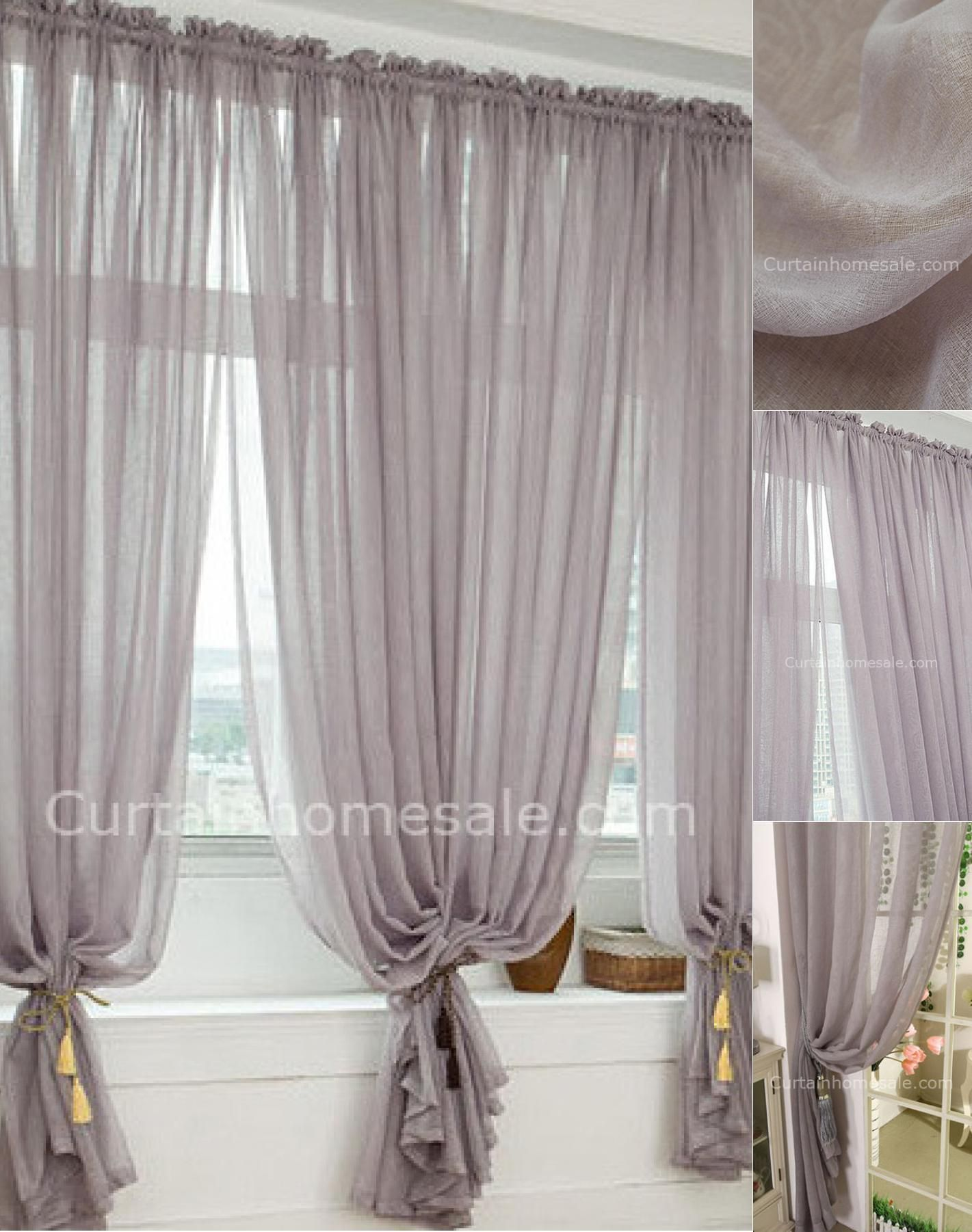 Lavender Sheer Curtains Heavy Patterned Grey Polyester Bedroom Printed Sheer Curtain