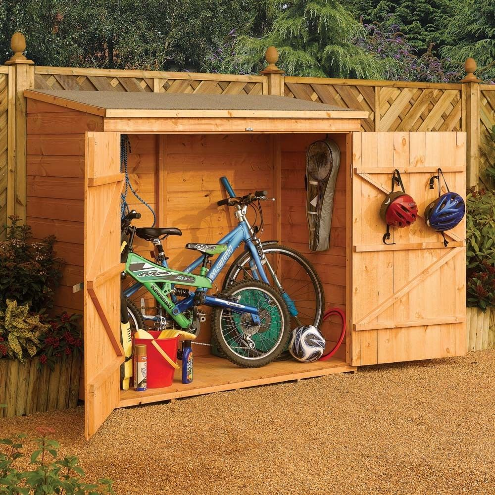 6 x 29 ft 18 x 08m wooden shiplap bicycle storage shedoutdoor