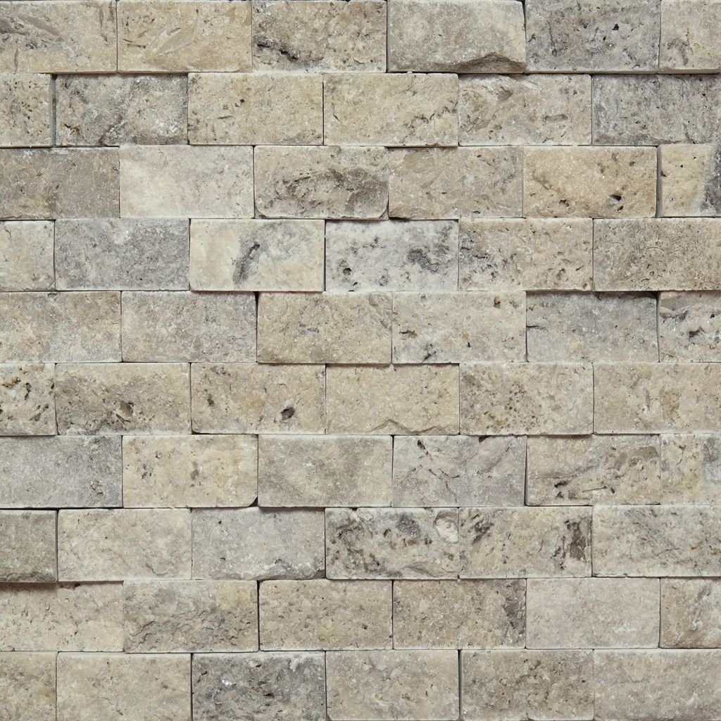 1 X 2 Split Face Mosaic Tile Silver Grey Travertine Honed Kitchen Backsplash Backsplash Travertine