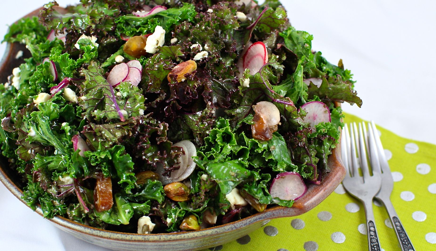 Lemon Vinaigrette Kale Salad with Macadamia Feta #raw