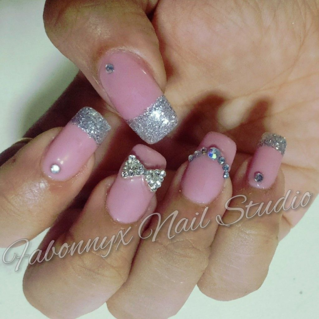 Rose gold Gel extensions with silver Shimmer French. 3d studds nail ...