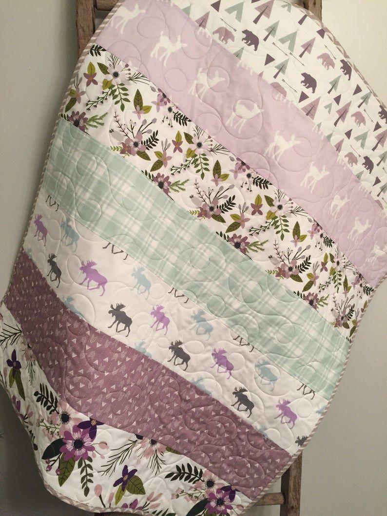 Photo of Modern baby girl quilt, Floral woodland, baby girl bedding, moose fawn bear, lavender mint gray grey floral, woodland nursery, toddler quilt