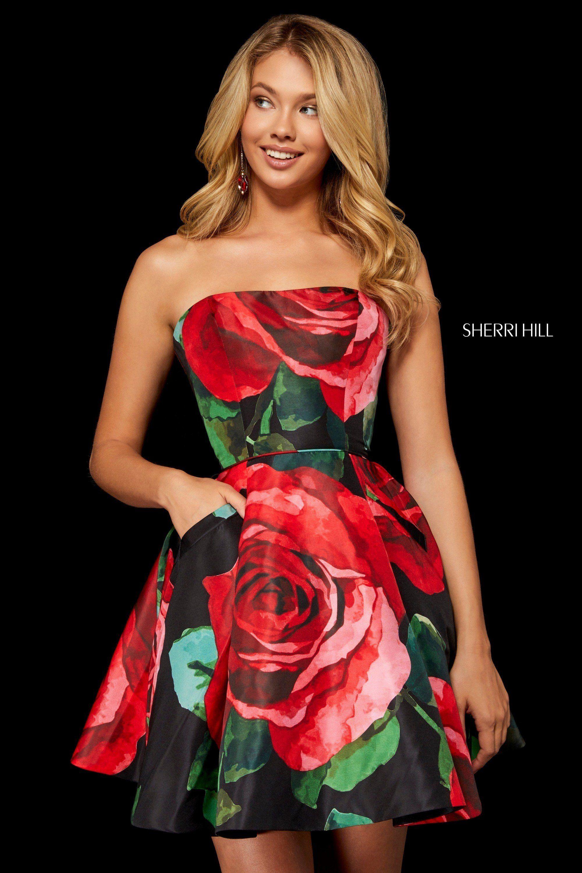 Sherri hill strapless floral print dress in