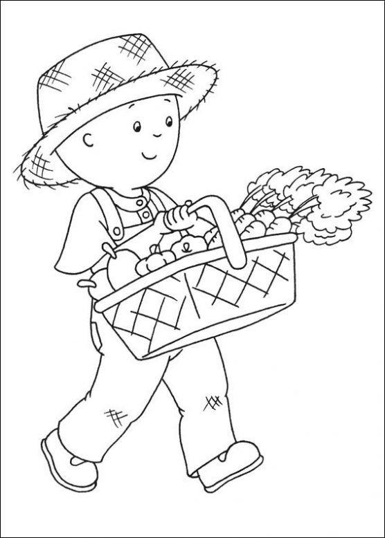 dibujo de caillou de jardinero para colorear  dibujos infantiles