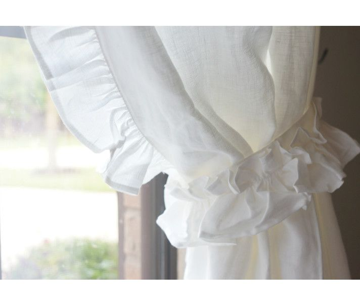 white linen curtains with leading edge ruffle