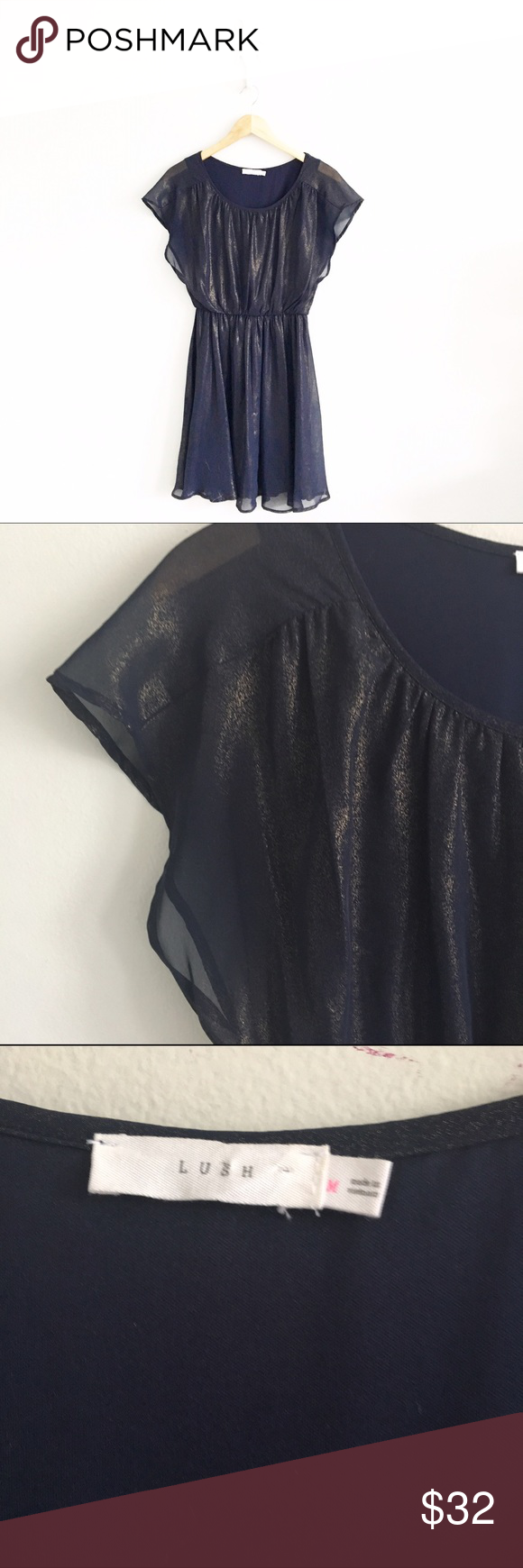 """LUSH Navy Gold Shimmer Butterfly Sleeve Dress Excellent condition with no rips or stains, please see all pictures for an accurate description of condition. First picture filtered. Size medium. Length is approx. 33"""". Chest measures approx. 19"""" laying flat from underarm to underarm. 100% polyester. *1121160399* Lush Dresses Mini"""