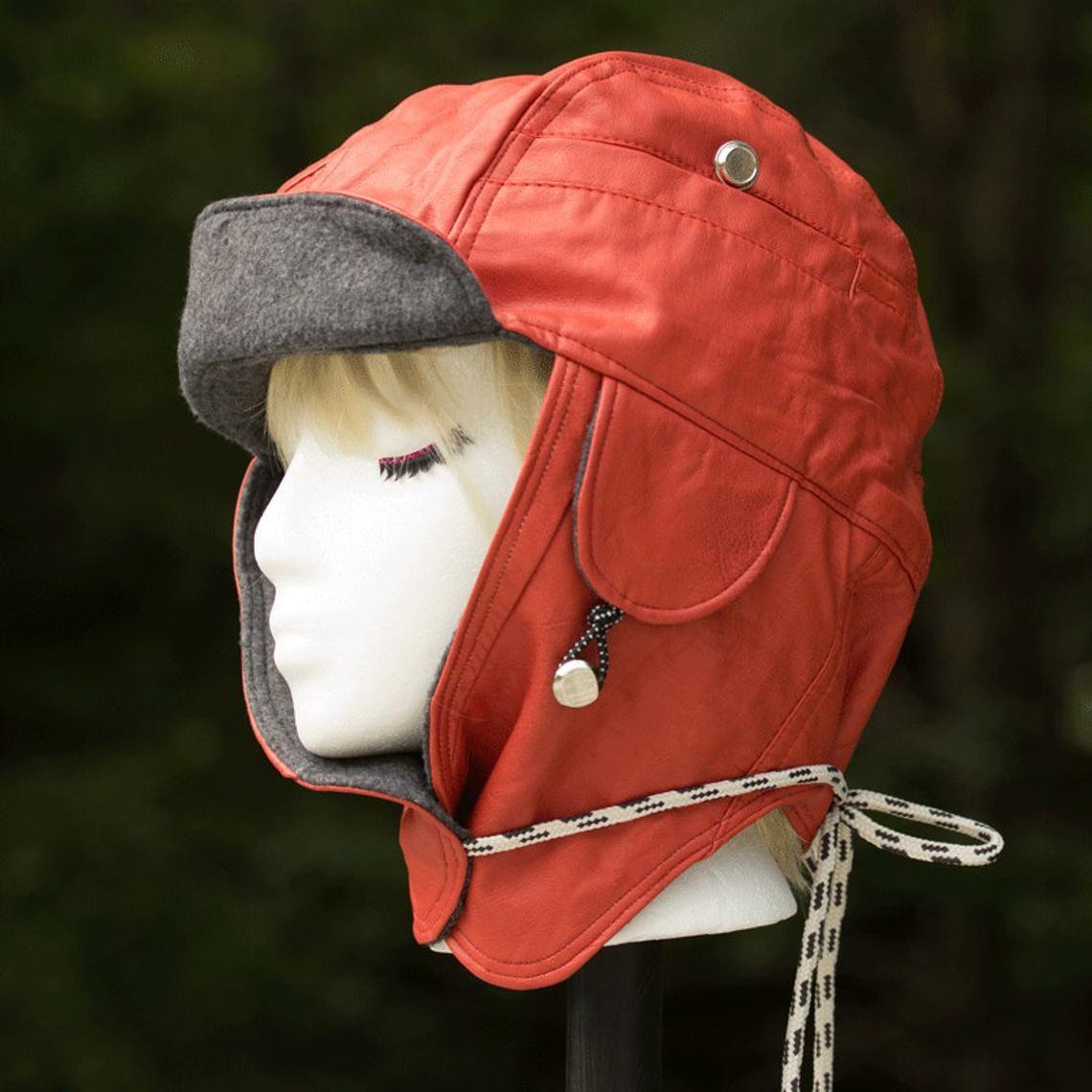 Orange Leather Trapper Hat Orange Grey Motorcycle Hat With Etsy Orange Leather Jacket Orange Leather Women Aviator Hat