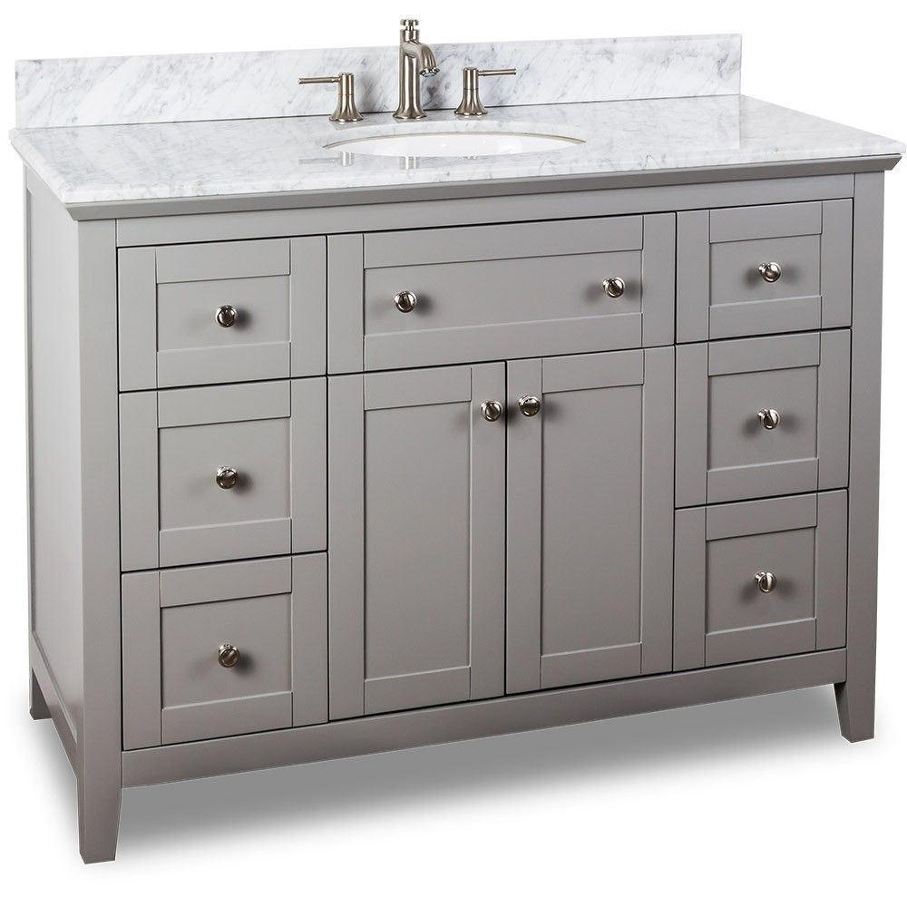 48 inch Grey Finish Bathroom Vanity Carrera Marble ...