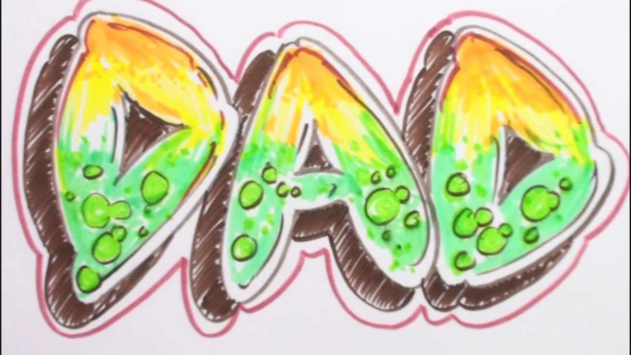 Uncategorized Bubble Letter Name how to draw graffiti letters write dad in bubble via youtube