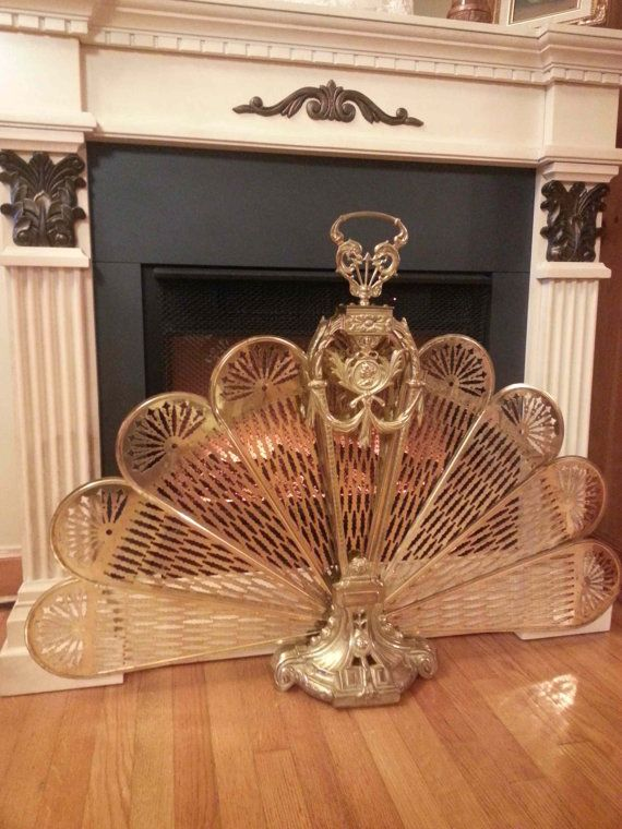 Antique Ornate Peacock Brass Fireplace Screen Heavy And Highly