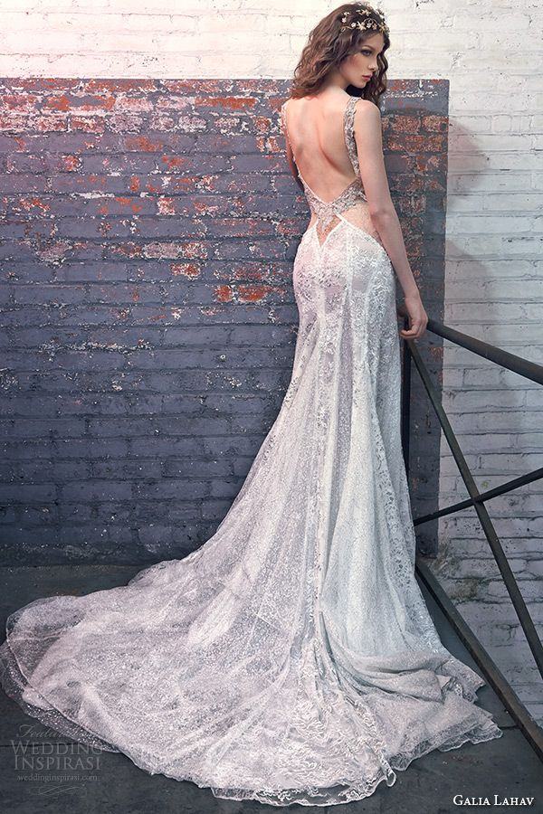Galia Lahav Spring 2016 Bridal Dresses Plunging Deep V Neck Low Cut Back Mermaid Wedding Dress