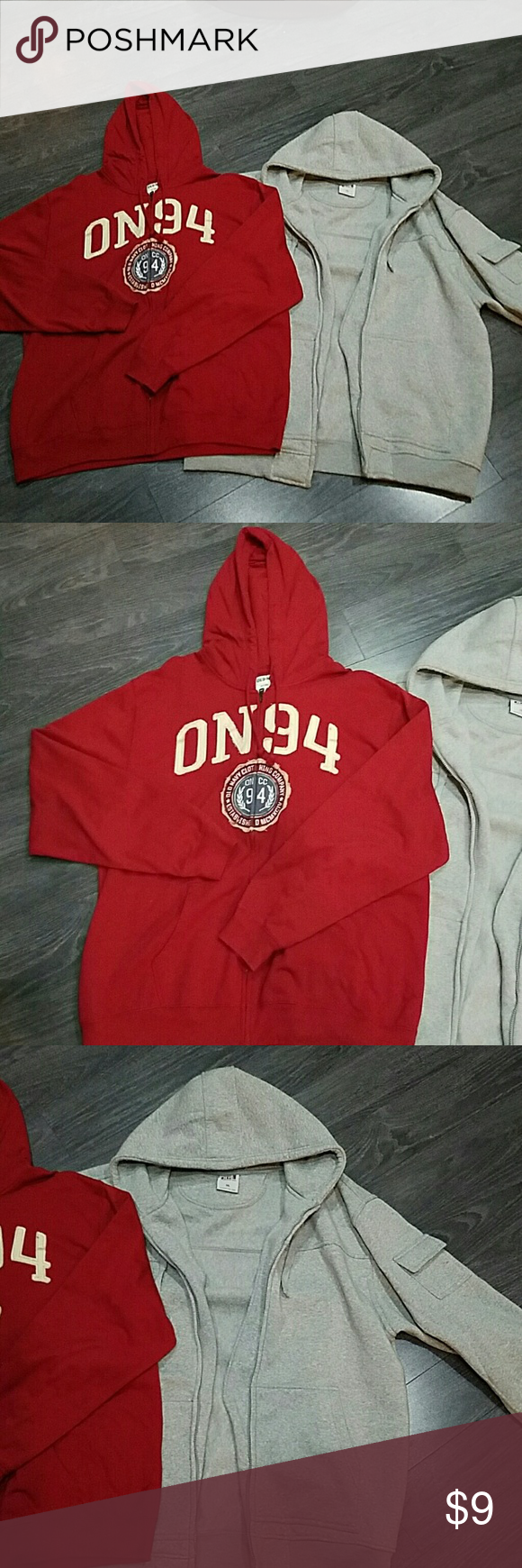 Mens hoodie bundle Red goodie 2x grey hoodie 3x.  Red hoodie  is nwot.  Grey hoodie is in great condition but the zipper doesn't work. Priced to reflect. Sweaters Zip Up
