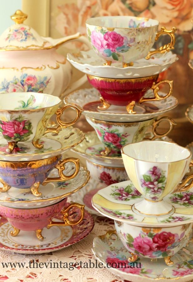 It S Also Impossible Imagine So Much Beauty At The Vintage Table En Perth Western Australia Tea Cups Vintage Tea Tea Cups Vintage