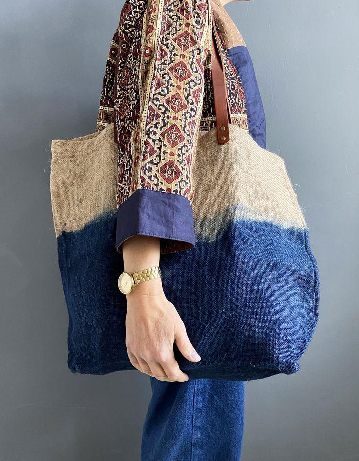 Denim Tote Bag Jute Tote Bags Indigowares In 2020 Jute Tote Bags Denim Tote Bags Fashion
