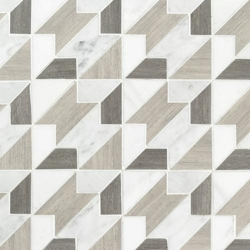 Viviano Marmo Houndstooth Carrara Blend Marble Mosaic Tile 14 X 14 10 Mm Thick Floor Decor In 2020 Marble Mosaic Decorative Tile Floor Decor