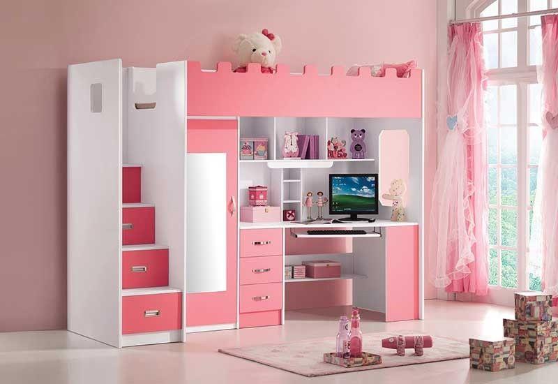 Lit combiné mezzanine eleonore coloris rose et blanc lit surélevé lit combiné