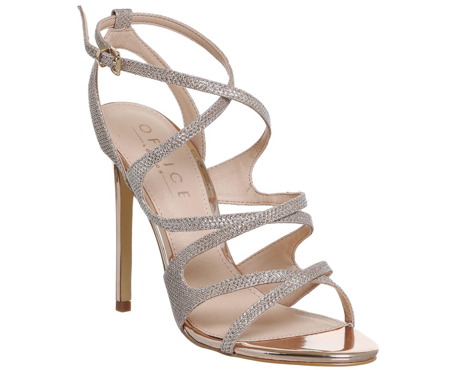 86c562cf7488 Office Hotness Strappy Heels Rose Gold Lurex