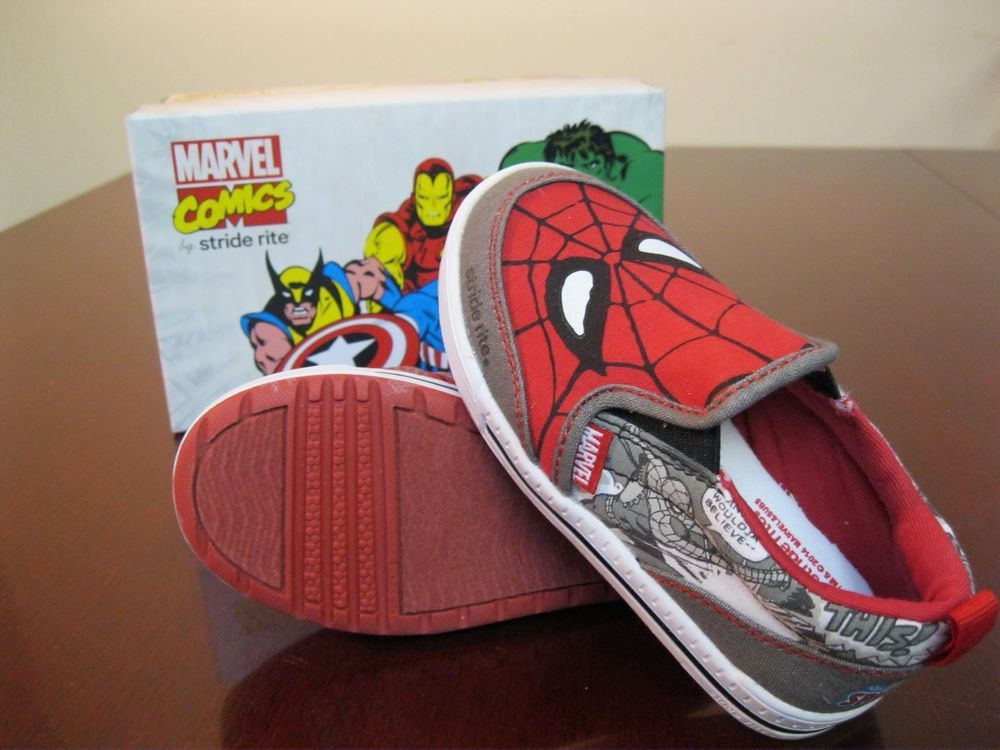 93ab5dd2198 Stride Rite Marvel Comics Spider-Man Slip On Boys Toddler Sneakers Size 8  in Clothing