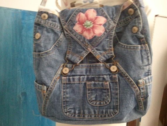 Recycled Denim Bag Purseall by PickedGreen on Etsy