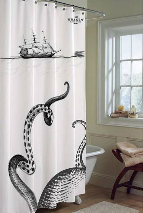 nice Pirate Shower Curtain Part - 9: Kraken shower curtain. Itu0027s from the rum company, which is kind of weird  for a bathroom, but itu0027s just so cool!