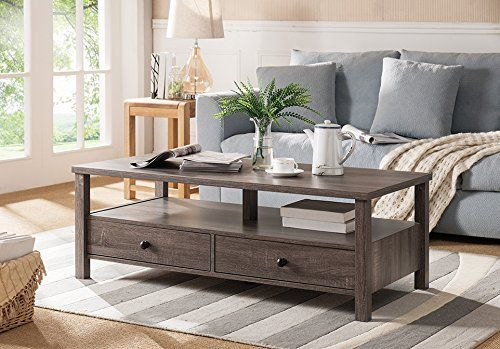 Smart Home Furniture Modern Drawers Display Deck Living Room Coffee Table Distressed Gray * Read more  at the image link.