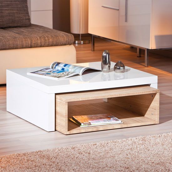 Extendable Coffee Table elko extendable storage coffee table in white gloss and oak