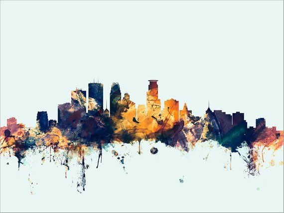 Minneapolis Cityscape Skyline Oil Paintings On Canvas Abstract Etsy Large Framed Wall Art Oil Painting On Canvas Wall Art Canvas Painting