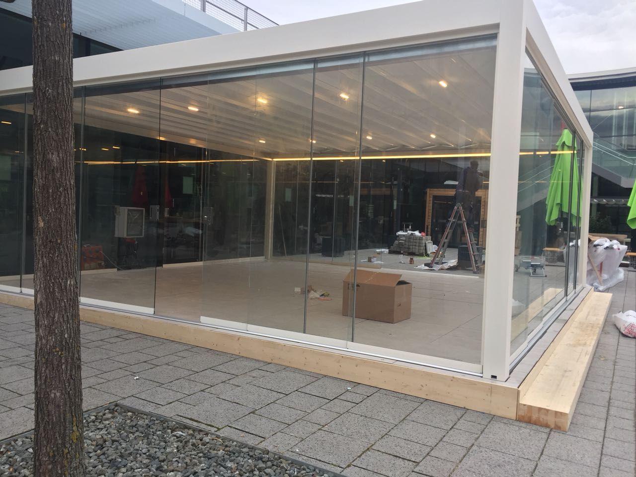 intergastra2018 messeaufbau corradi outdoor living space maestro faltmarkise markiese. Black Bedroom Furniture Sets. Home Design Ideas