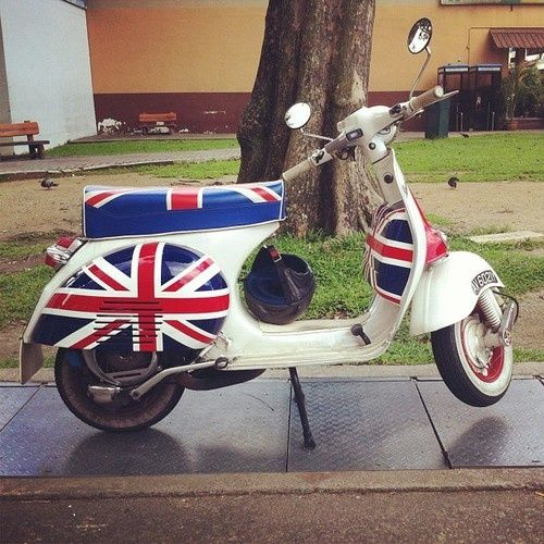 What a cool Vespa! Love the Union Jack adornments!