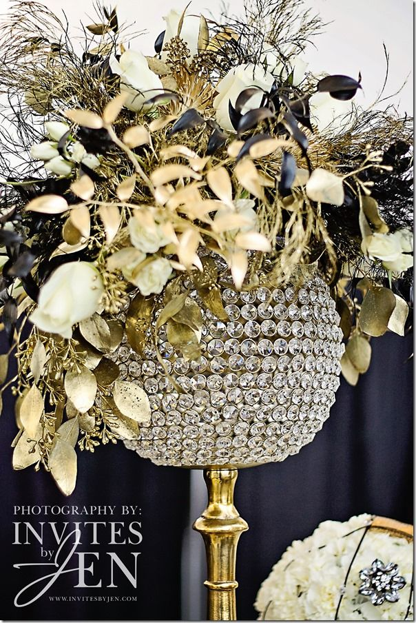Glitzy Gold Wedding Theme Flowers By Simply Glamorous Designs See