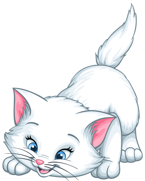 White Kitten Cartoon PNG Clip Art Image | Animal clip ...