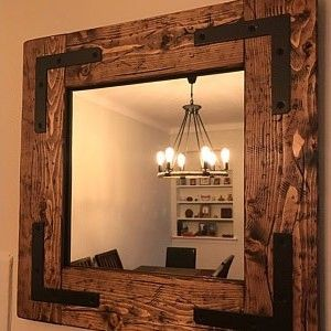rustic handmade bathroom mirror, farmhouse vanity mirror