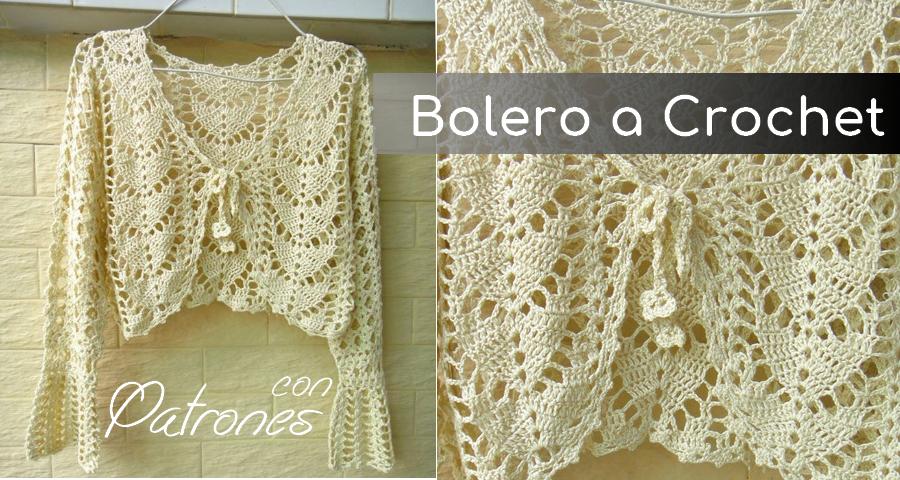 Bolero con mangas largas tejido a crochet con patrones y facil de ...