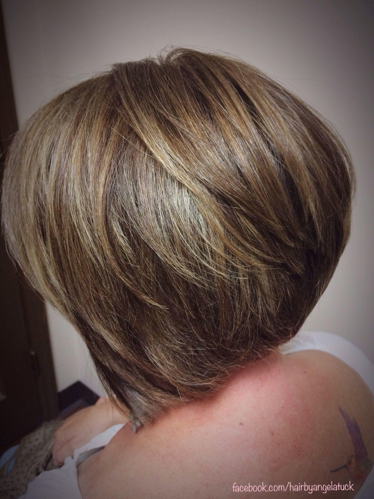 Short hair cut dimensional color olaplex highlights minardi