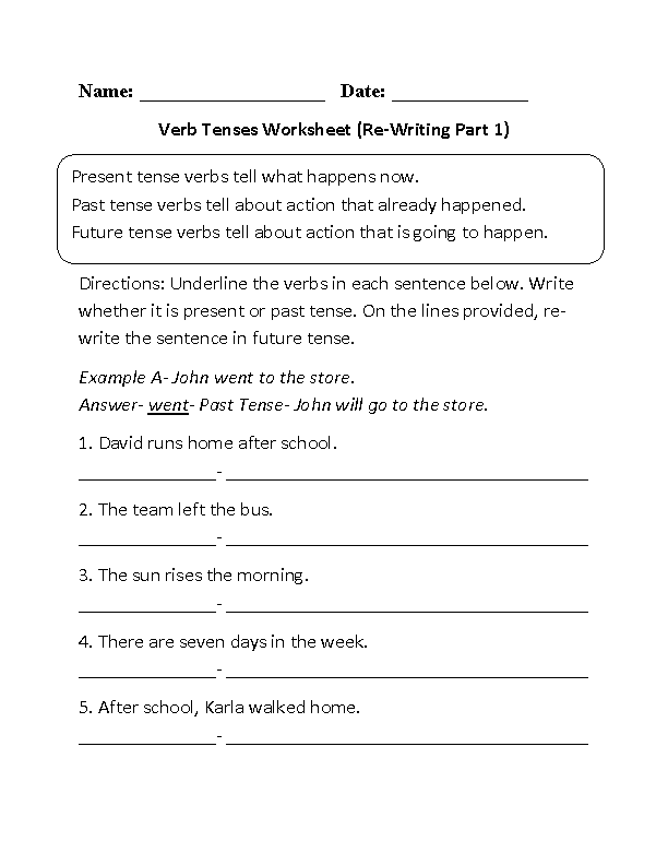 Re-Writing Verbs Tenses Worksheet Part 1 Beginner | Esl | Verb ...