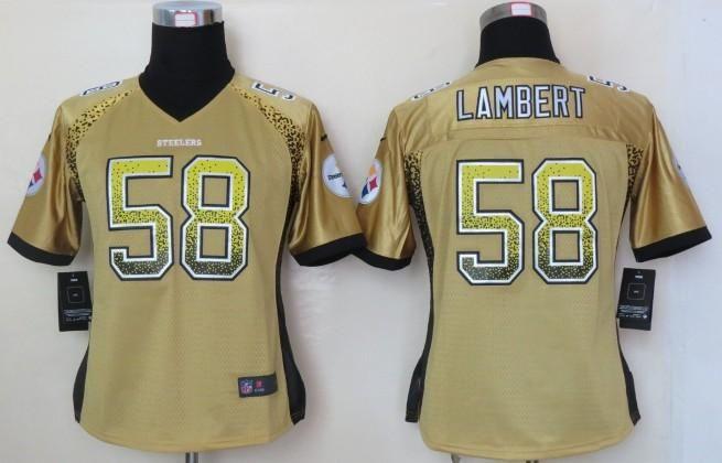 9e46dfe66 Women Nike NFL Pittsburgh Steelers Jersey 58 Jack Lambert Gold Drift  Fashion Elite NFL Jerseys